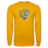 Gold Long Sleeve T Shirt-Wildcat Head Distressed