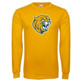 Gold Long Sleeve T Shirt-Wildcat Head Distressed