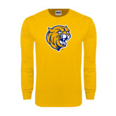 Gold Long Sleeve T Shirt-Wildcat Head