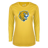 Ladies Syntrel Performance Gold Longsleeve Shirt-Wildcat Head