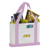 Contender White/Pink Canvas Tote-JWU