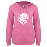 ENZA Ladies Hot Pink V Notch Raw Edge Fleece Hoodie-Wildcat Head