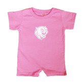 Bubble Gum Pink Infant Romper-Wildcat Head