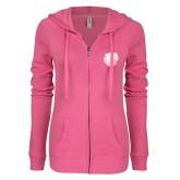 ENZA Ladies Hot Pink Light Weight Fleece Full Zip Hoodie-Wildcat Head