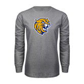 Grey Long Sleeve T Shirt-Wildcat Head Distressed