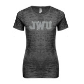 Next Level Ladies Junior Fit Dark Grey Burnout Tee-Rhinestone JWU