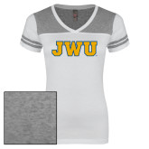 Ladies White/Heathered Grey Juniors Varsity V Neck Tee-JWU