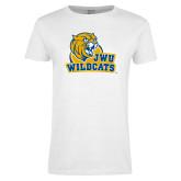 Ladies White T Shirt-JWU Wildcats