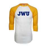 White/Gold Raglan Baseball T-Shirt-JWU