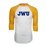 White/Gold Raglan Baseball T-Shirt-JWU