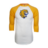 White/Gold Raglan Baseball T-Shirt-Wildcat Head