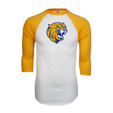 White/Gold Raglan Baseball T-Shirt-Wildcat Head Distressed