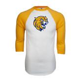 White/Gold Raglan Baseball T-Shirt-Wildcat Head Distressed