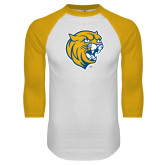 White/Gold Raglan Baseball T Shirt-Wildcat Head