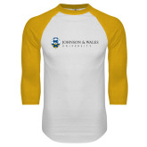 White/Gold Raglan Baseball T Shirt-University Mark