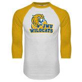 White/Gold Raglan Baseball T Shirt-JWU Wildcats