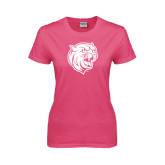 Ladies Fuchsia T Shirt-Wildcat Head