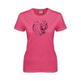 Ladies Fuchsia T Shirt-Wildcat Head Foil