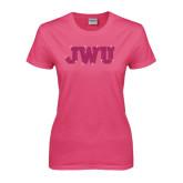 Ladies Fuchsia T Shirt-Rhinestone JWU