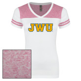 Ladies White/Heathered Pink Juniors Varsity V Neck Tee-JWU