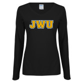 Ladies Black Long Sleeve V Neck Tee-JWU