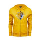 ENZA Ladies Gold Fleece Full Zip Hoodie-Wildcat Head