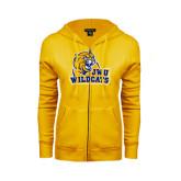 ENZA Ladies Gold Fleece Full Zip Hoodie-JWU Wildcats