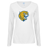Ladies White Long Sleeve V Neck Tee-Wildcat Head
