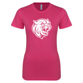 Next Level Ladies SoftStyle Junior Fitted Fuchsia Tee-Wildcat Head