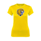 Ladies Syntrel Performance Gold Tee-Wildcat Head