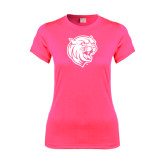 Ladies Performance Hot Pink Tee-Wildcat Head
