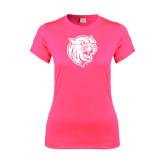 Ladies Performance Hot Pink Tee-Wildcat Head