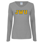 Ladies Grey Long Sleeve V Neck Tee-JWU
