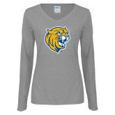 Ladies Grey Long Sleeve V Neck Tee-Wildcat Head