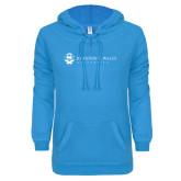ENZA Ladies Pacific Blue V Notch Raw Edge Fleece Hoodie-University Mark