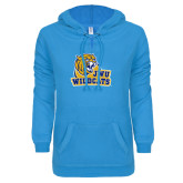 ENZA Ladies Pacific Blue V Notch Raw Edge Fleece Hoodie-JWU Wildcats