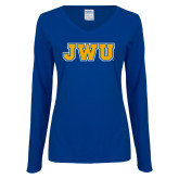 Ladies Royal Long Sleeve V Neck Tee-JWU