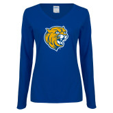 Ladies Royal Long Sleeve V Neck Tee-Wildcat Head