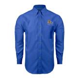 Mens Royal Oxford Long Sleeve Shirt-JWU Wildcats