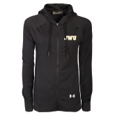 Ladies Under Armour Black Varsity Full Zip Hoodie-JWU
