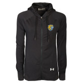 Ladies Under Armour Black Varsity Full Zip Hoodie-Wildcat Head