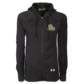 Ladies Under Armour Black Varsity Full Zip Hoodie-JWU Wildcats