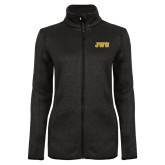 Black Heather Ladies Fleece Jacket-JWU