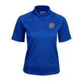 Ladies Royal Textured Saddle Shoulder Polo-Wildcat Head