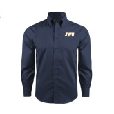 Red House Deep Blue Herringbone Long Sleeve Shirt-JWU