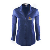 Ladies Red House Deep Blue Herringbone Non Iron Long Sleeve Shirt-JWU Wildcats