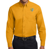 Gold Twill Button Down Long Sleeve-Wildcat Head