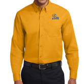 Gold Twill Button Down Long Sleeve-JWU Wildcats
