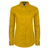 Ladies Gold Twill Button Down Long Sleeve-JWU