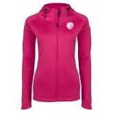 Ladies Tech Fleece Full Zip Hot Pink Hooded Jacket-Wildcat Head